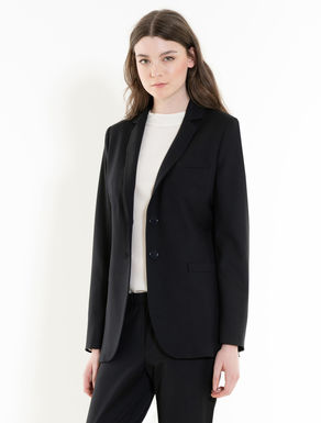 Long stretch fabric blazer