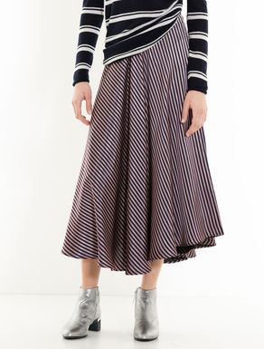 Godet skirt with jacquard stripes