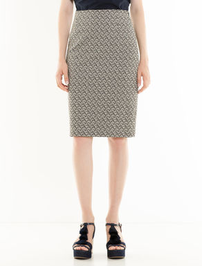 Geometric jacquard tube skirt
