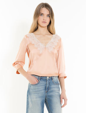 Silk satin blouse with lace