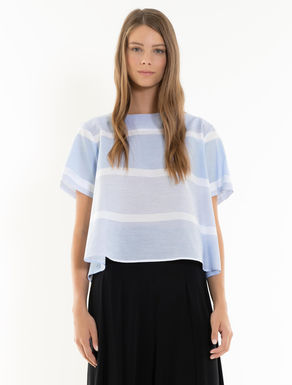A-line striped muslin blouse