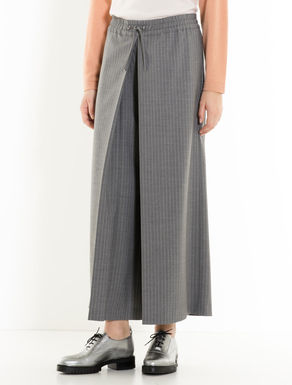 Pinstripe trousers with box pleat