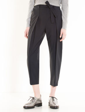Pinstripe carrot-fit trousers