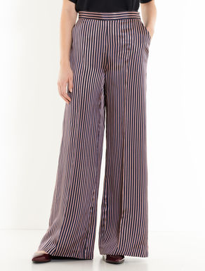 Striped jacquard trousers