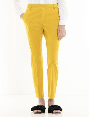 Slim-fit cotton satin trousers
