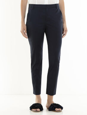 Slim-fit cotton satin trousers