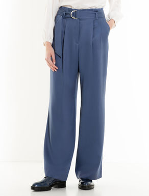 Wide-fit gabardine trousers