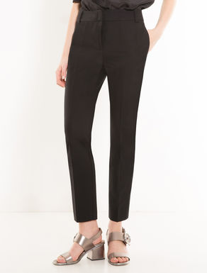 Slim-fit double cotton trousers