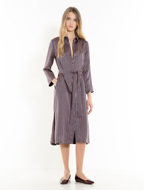 Striped jacquard shirt dress
