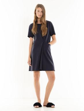Vestido de tejido doble con pliegues