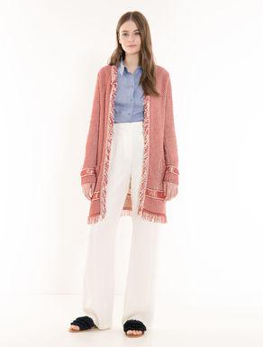 Knit overcoat with fringe