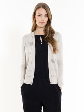 Cardigan with openwork stripes