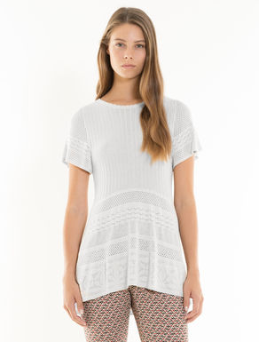 Lace-effect openwork jumper