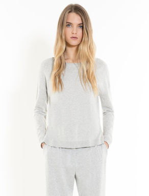 Pullover mit Georgette-Rüsche