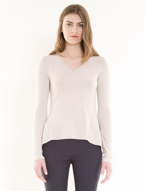 Slim jumper with godet hem