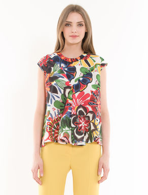 Silk and jersey godet top