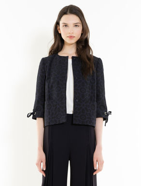 Lamé jacquard jacket with flounce