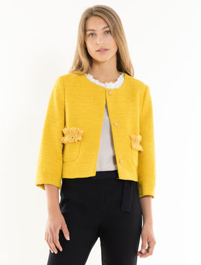 Boxy woven jacket with ruching