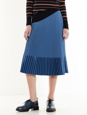 Pleated georgette and satin skirt