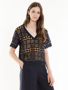 Geometric macramé blouse