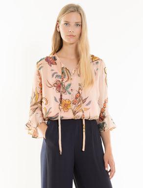 Floral silk chiffon blouse