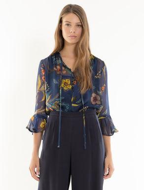 Blusa de chifón de seda floral