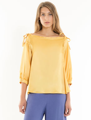 Satin blouse with bows