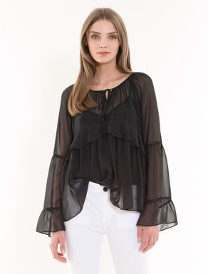 Chiffon blouse with flounce
