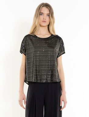 Blouse with micro-sequins