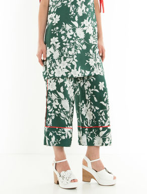Floral twill trousers