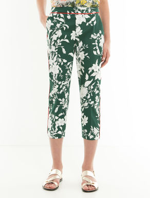 Cropped slim-fit cotton trousers