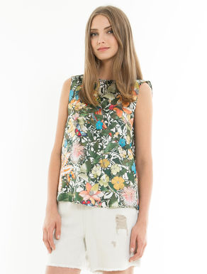 Floral twill top with ribbons