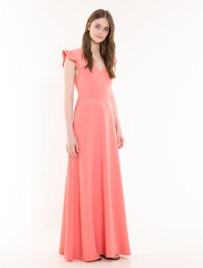 Long micro-faille and muslin dress