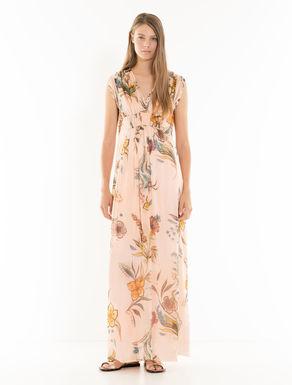 Vestido largo de seda floral