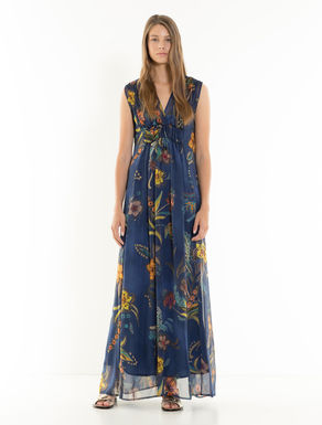 Long silk floral dress