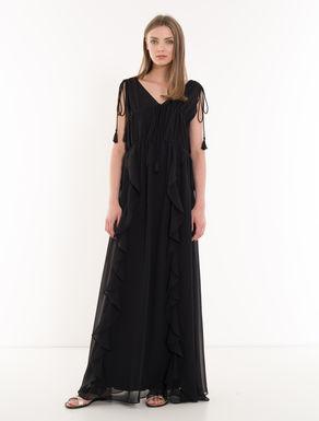 Chiffon dress with drawstring