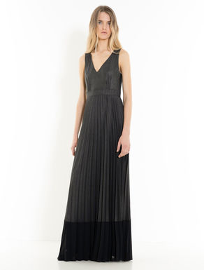 Long laminated georgette dress