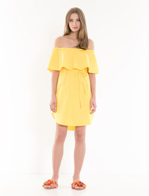 Poplin dress with large ruffles