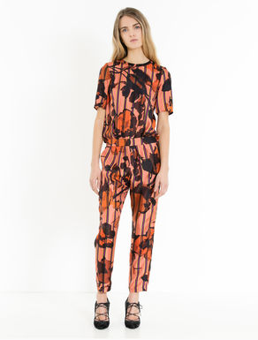Printed silk twill jumpsuit
