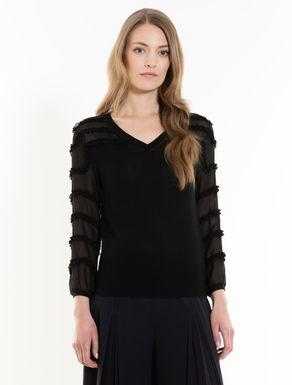 シルクインサート付きセーター