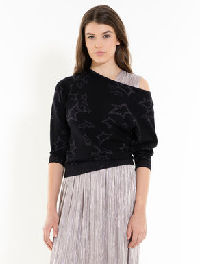 Jacquard jumper with lamé stars