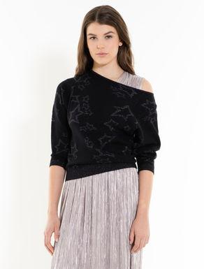 Pullover aus Jacquard mit Lamé-Sternen