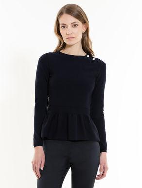 Pullover mit angekrauster Rüsche