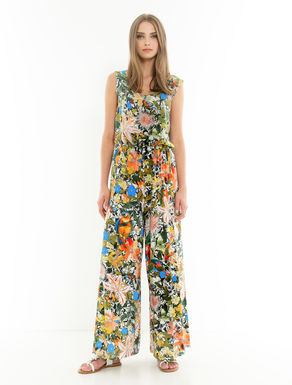 Silk and jersey floral jumpsuit