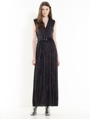 Laminated jersey pleated dress