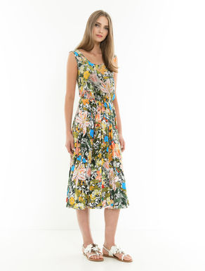 Silk and jersey floral dress
