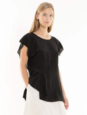 Silk and jersey top with flounces