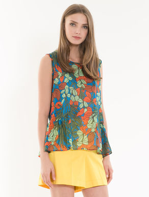 Printed voile and jersey top