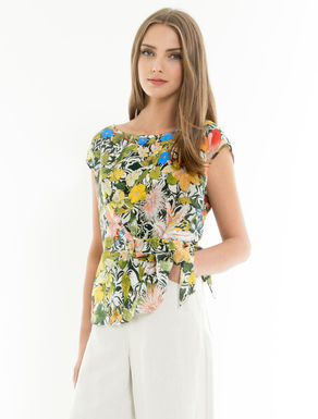 Silk and jersey floral top