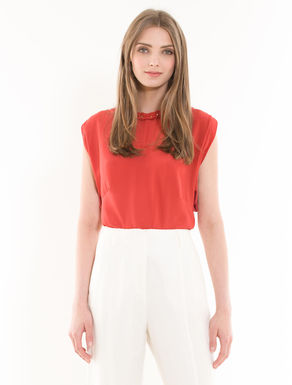 Silk and jersey ruched top